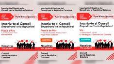 Los carteles de la ANC que anuncian los talleres para «enseñar a registrarse» en el 'Consejo de la república' de Carles Puigdemont.