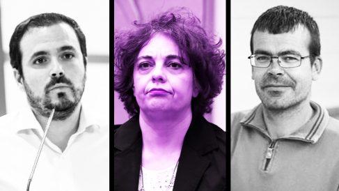 Alberto Garzón, Gloria Elizo y Pedro Honrubia.