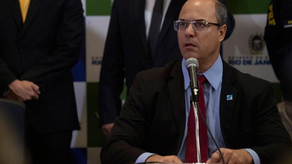 El Gobernador de Río de Janeiro, Wilson Witzel, en rueda de prensa. Foto: AFP