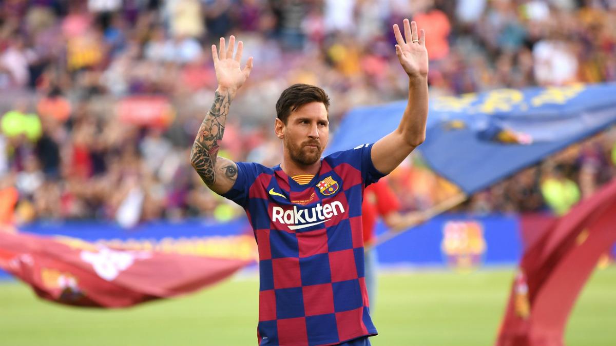 Messi, en su presentación con el Barcelona (Getty).