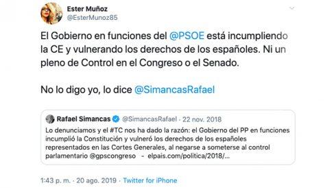 El zasca de Ester Muñoz a Rafael Simancas en Twitter.