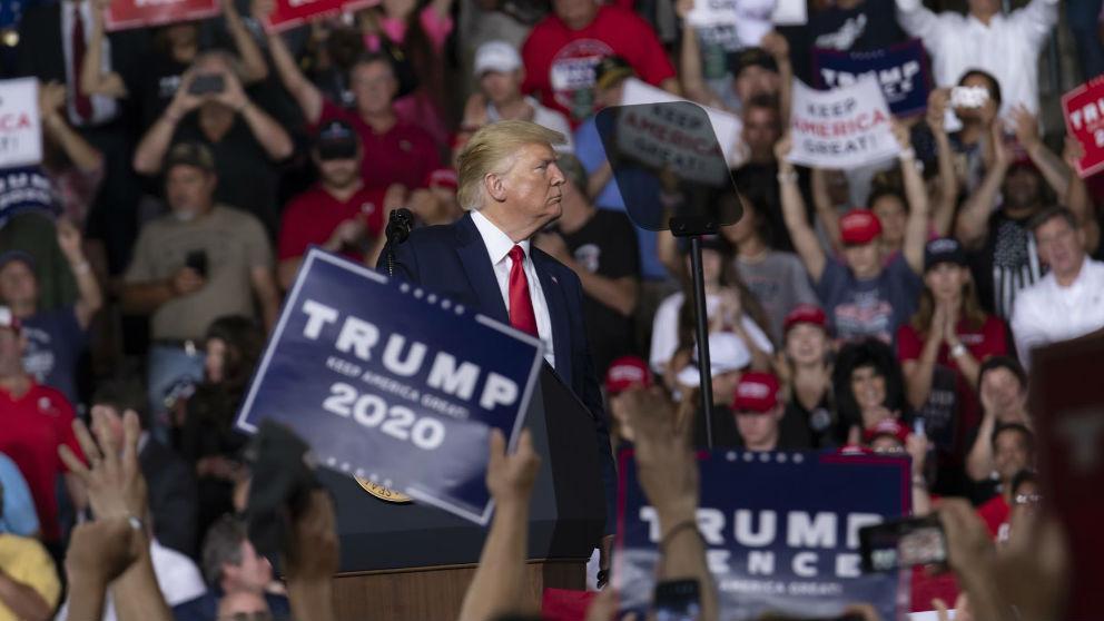 Donald Trump en uno de sus mítines.
