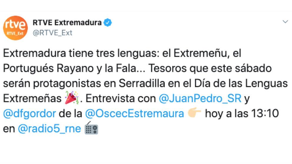 El tuit de RTVE Extremadura en el que excluye el español como lengua en la región.