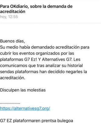 Censura: la organización de la protesta radical contra la cumbre del G-7 retira la acreditación a OKDIARIO