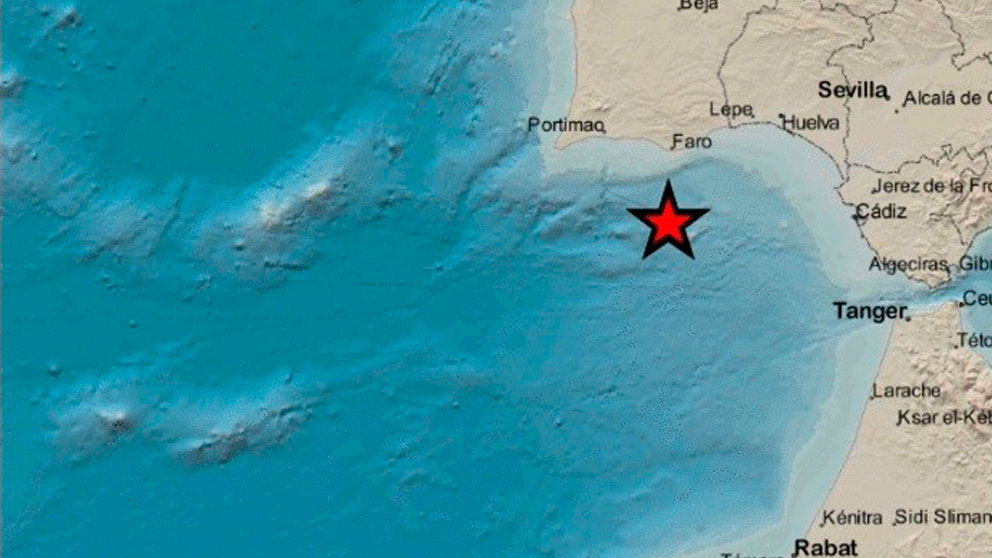 EL epicentro de los terremotos registrados en el Golfo de Cádiz marcado con una estrella.