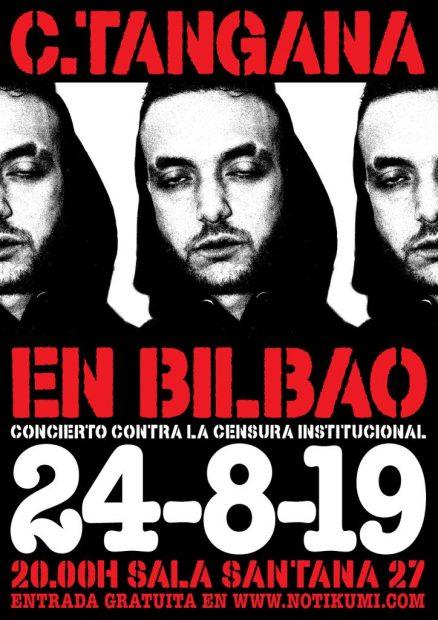 CArtel de la actuación anunciada por C. Tangana en Bilbao.