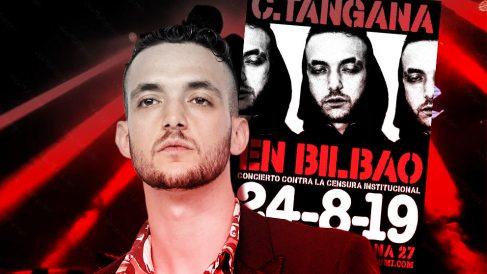 El rapero C. Tangana y el cartel anunciando su actuación gratuita en Bilbao.