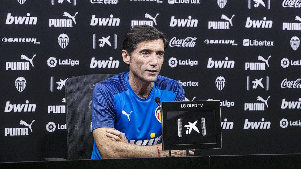 Marcelino García Toral en rueda de prensa (Valencia Club de Fútbol)