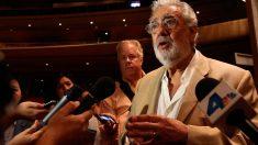 El tenor español Plácido Domingo atiende a los medios. Foto: EP