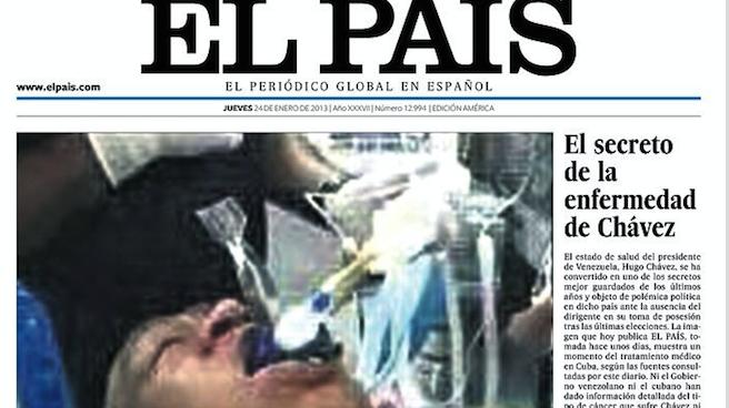 El diario El País publicó el 24 de enero de 2013 la foto falsa de la agonía de Hugo Chávez.