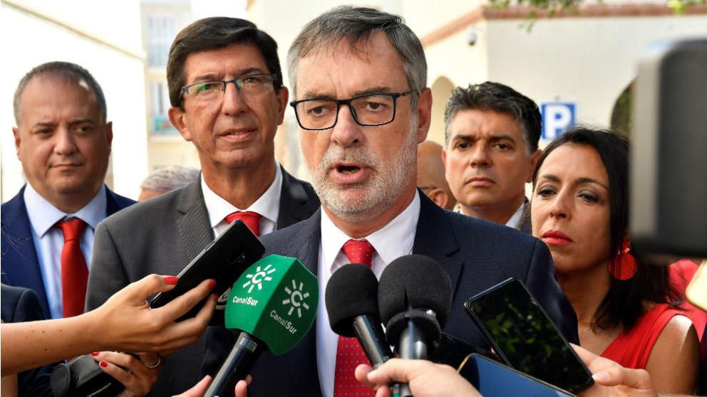 El número dos de C's, José Manuel Villegas, este sábado en Almería. (Foto: EFE)
