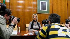 La fiscal superior de Andalucía,  Ana Tárrago, durante una rueda de prensa sobre el brote listeriosis. Foto: EP