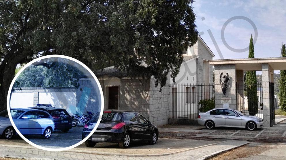 Un coche patrulla de la Policía Nacional vigilando la entrada al cementerio de Mingorrubio, en El Pardo (Madrid).