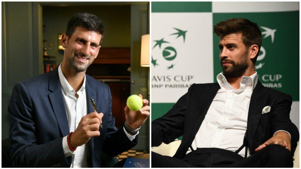 Novak Djokovic y Gerard Piqué. (AFP)