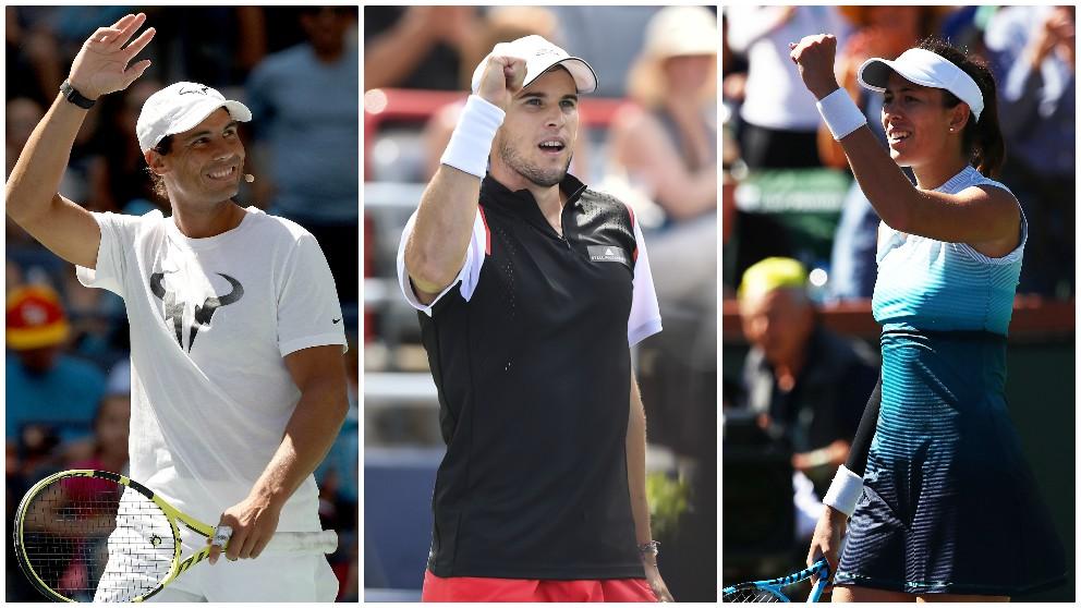 Rafael Nadal, Dominic Thiem y Garbiñe Muguruza. (Getty)