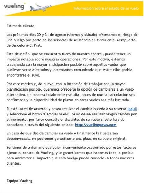 Iberia y Vueling invitan a sus clientes que vuelen a Barcelona los días 30 y 31 a adelantar su viaje por la huelga