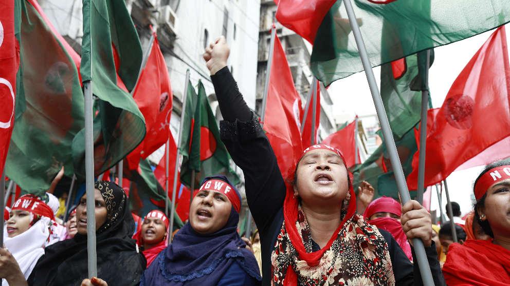 Manifestación en Dhaka, Bangladesh.
