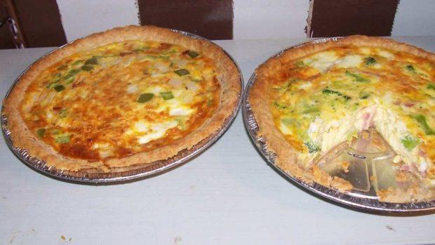 Quiche de puerros, cebolla y queso