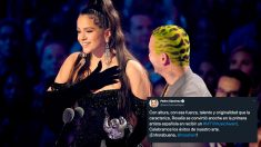 La cantante Rosalía recoge el premio a 'Mejor Vídeo latino' junto a J Balvin por su canción conjunta 'Con Altura' en la gala de los VMA de MTV. Foto: AFP
