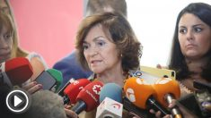 La vicepresidenta, Carmen Calvo, este miércoles antes de la reunión.