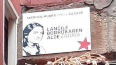 La placa en memoria de la etarra Marisol Mujika, que asesinó a un joven de 18 años, que el Ayuntamiento de Bilbao ha retirado tras la denuncia del PP. Foto: Twitter