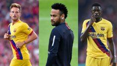 Rakitic, Neymar y Dembélé.