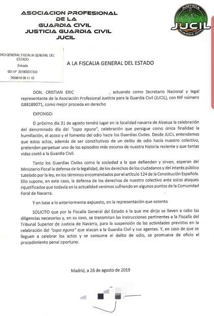 La Guardia Civil denunciará a Chivite si consiente la 'fiesta del odio' de Alsasua