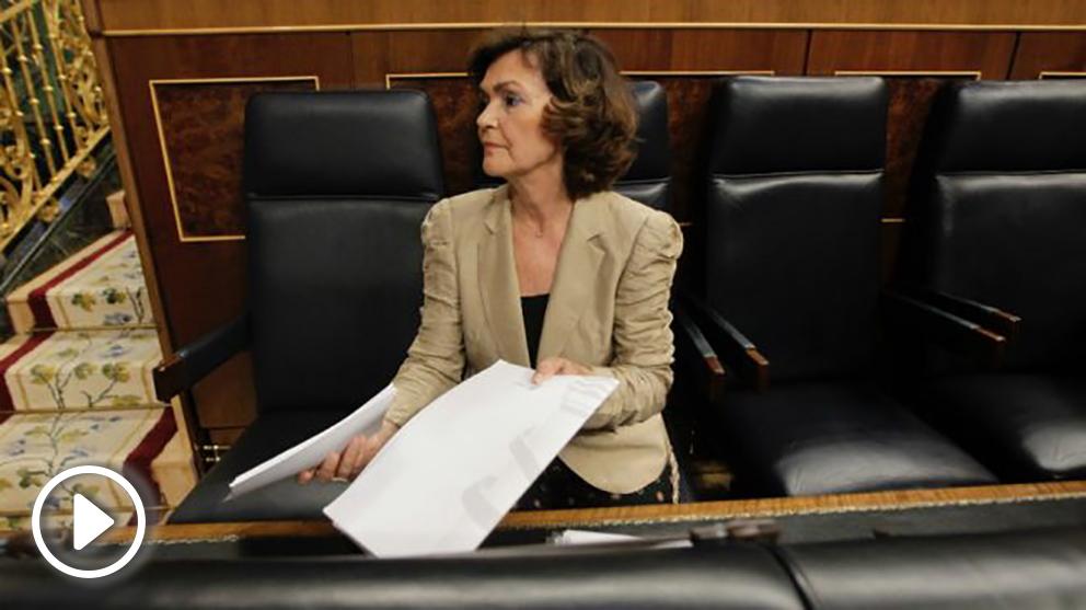 Carmen Calvo, este jueves en el Congreso. (Foto: Francisco Toledo)