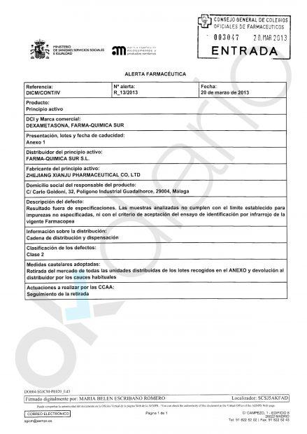 Alerta farmacéutica del Ministerio de Sanidad que ordenaba la retirada de medicamentos de 'Farma-Quimica Sur SL'