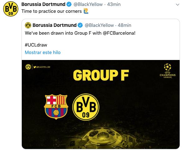 El Dortmund trolea al Barça tras el sorteo: «Toca trabajar los córners»