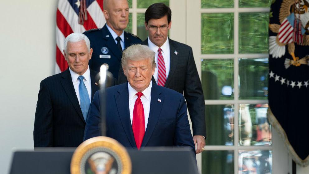 Donald Trump, Mike Pence, el general John W. Raymond y Mark Esper, en la inauguración del Comando Espacial de EEUU.