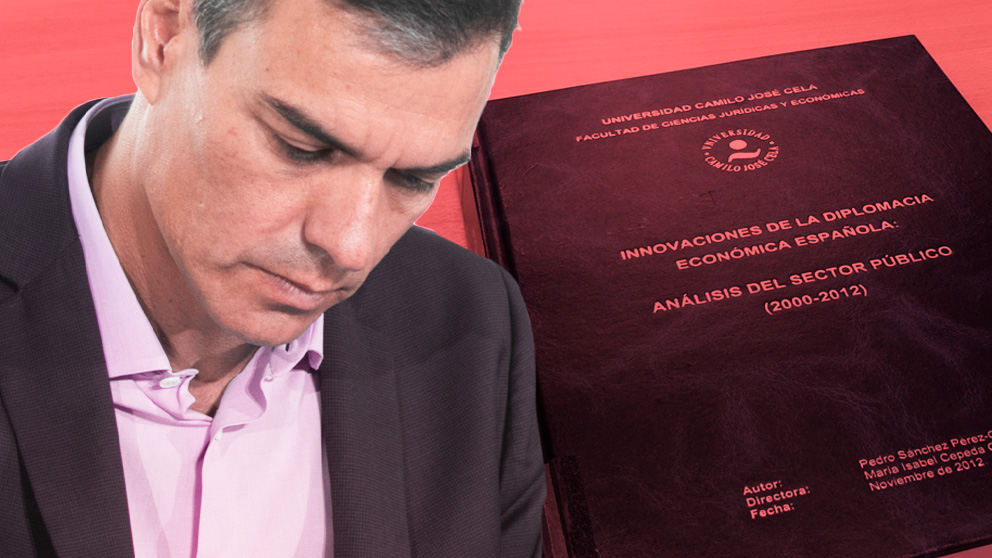 El presidente del Gobierno en funciones, Pedro Sánchez, y su tesis 'fake'.