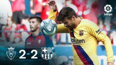 El Barcelona tropezó ante Osasuna.