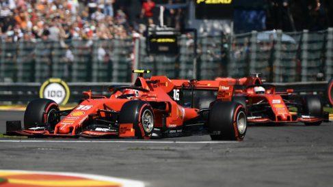 Leclerc, por delante de Vettel en la calificación del Gran Premio de Bélgica. (AFP)