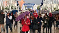 Un grupo de personas se resguarda de las lluvias debajo de paraguas. Foto: EP