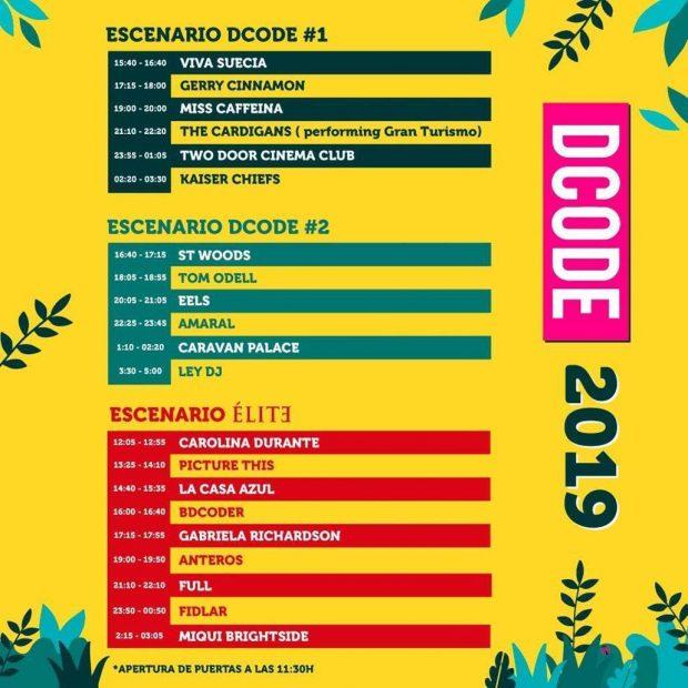 Horarios de DCODE 2019