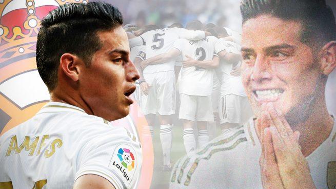 El vestuario del Madrid celebra el 'fichaje' de James