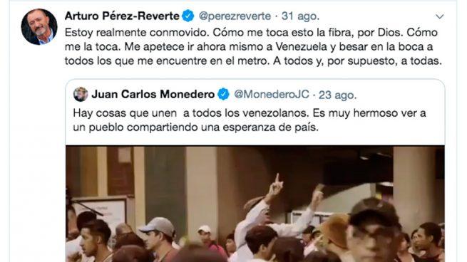 Arturo Pérez-Reverte se mofa de Juan Carlos Monedero por actuar como propagandista de Nicolás Maduro.