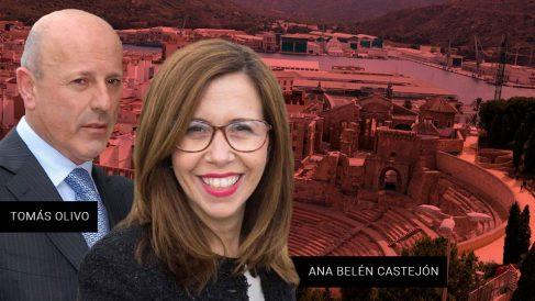 La alcaldesa de Cartagena, Ana Belén Castejón, y el empresario Tomás Olivo.