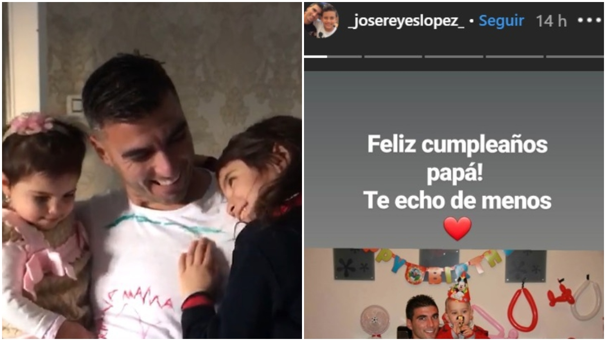 La foto publicada por la viuda de Reyes y la publicación de su hijo.