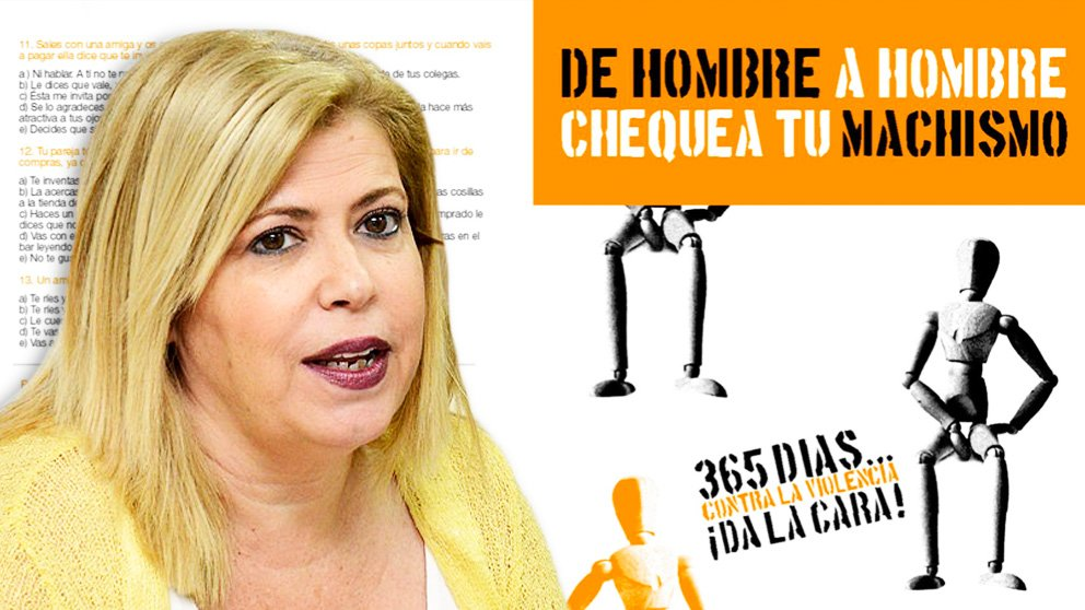 La alcaldesa socialista de Jerez, Mamen Sánchez, junto al test de «chequea tu machismo».