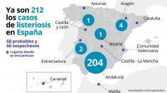 Es es el mapa elaborado por Europa Press, con datos del Ministerio de Salud, sobre los casos de personas afectadas por el brote de listeriosis. Foto: EP