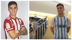 Simón Moreno, posando con las camisetas del Almería y el Málaga