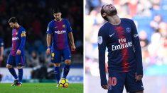 A la izquierda, Messi y Suárez tras una derrota y, a la derecha, Neymar (Getty-y-AFP)