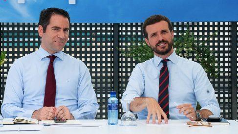 Teo García Egea y Pablo Casado en el Comité de Dirección. (Foto. PP)