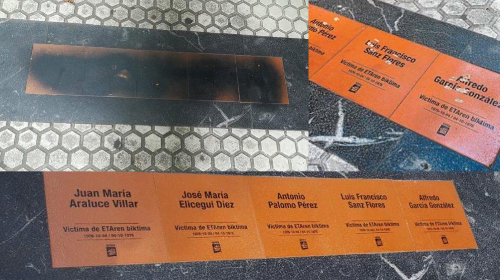 Las placas en su estado original (abajo) y las placas tras dos de los ataques sufridos por radiales (arriba). Foto: Twitter