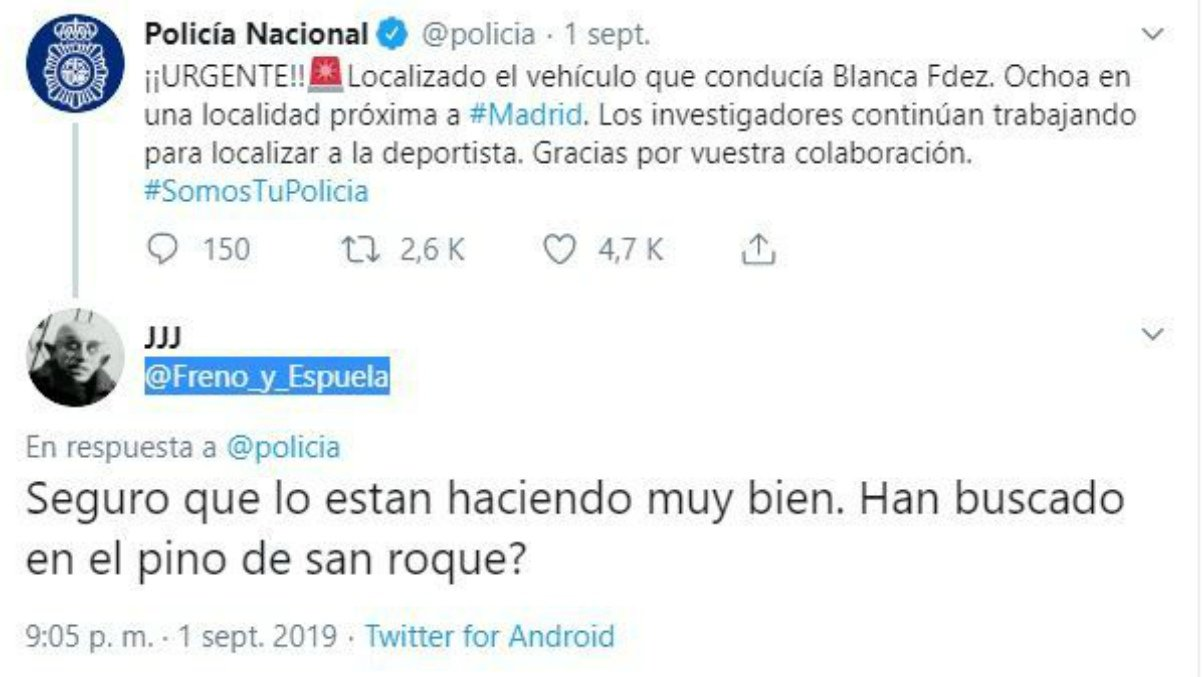 El citado tuit avisando a la Policía