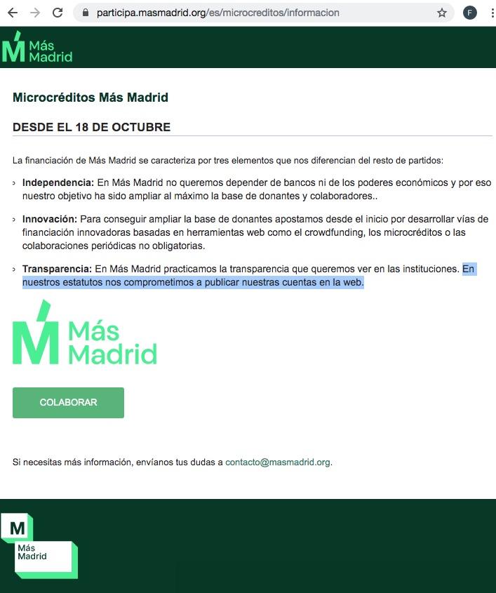 Página web de Más Madrid.