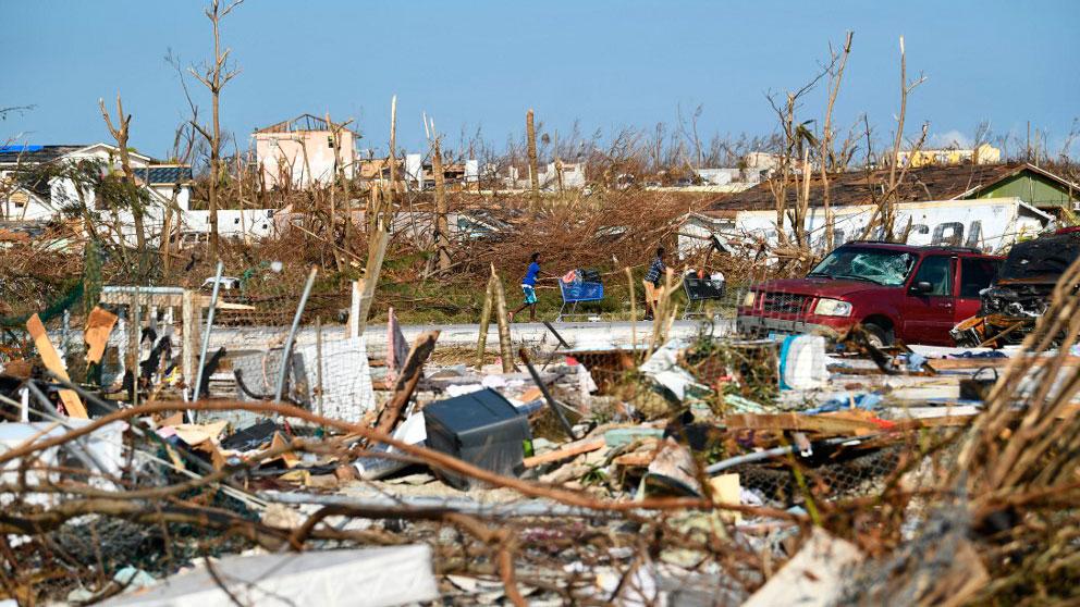 una de las zonas de las islas Bahamas devastada por el huracán 'Dorian'. Foto: AFP