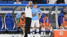 Guardiola y Foden, en un partido de pretemporada. (AFP)